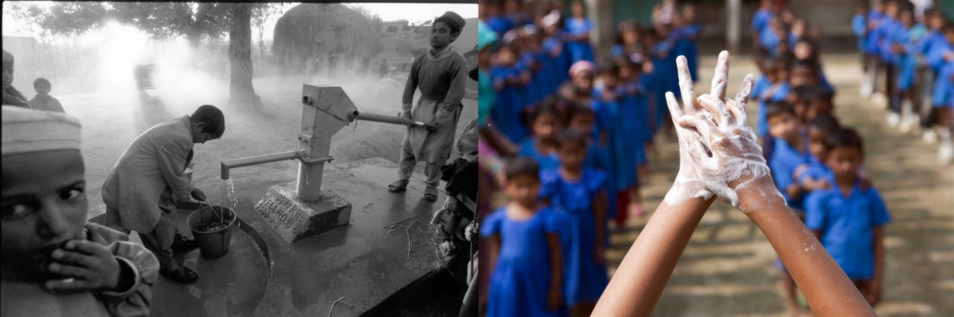 (Left) In 2000 in Afghanistan, boys collect water at a handpump on the outskirts of the town of Laghman. (Right) In 2012, a School Brigade member demonstrates proper hand washing techniques during assembly in Bangladesh.