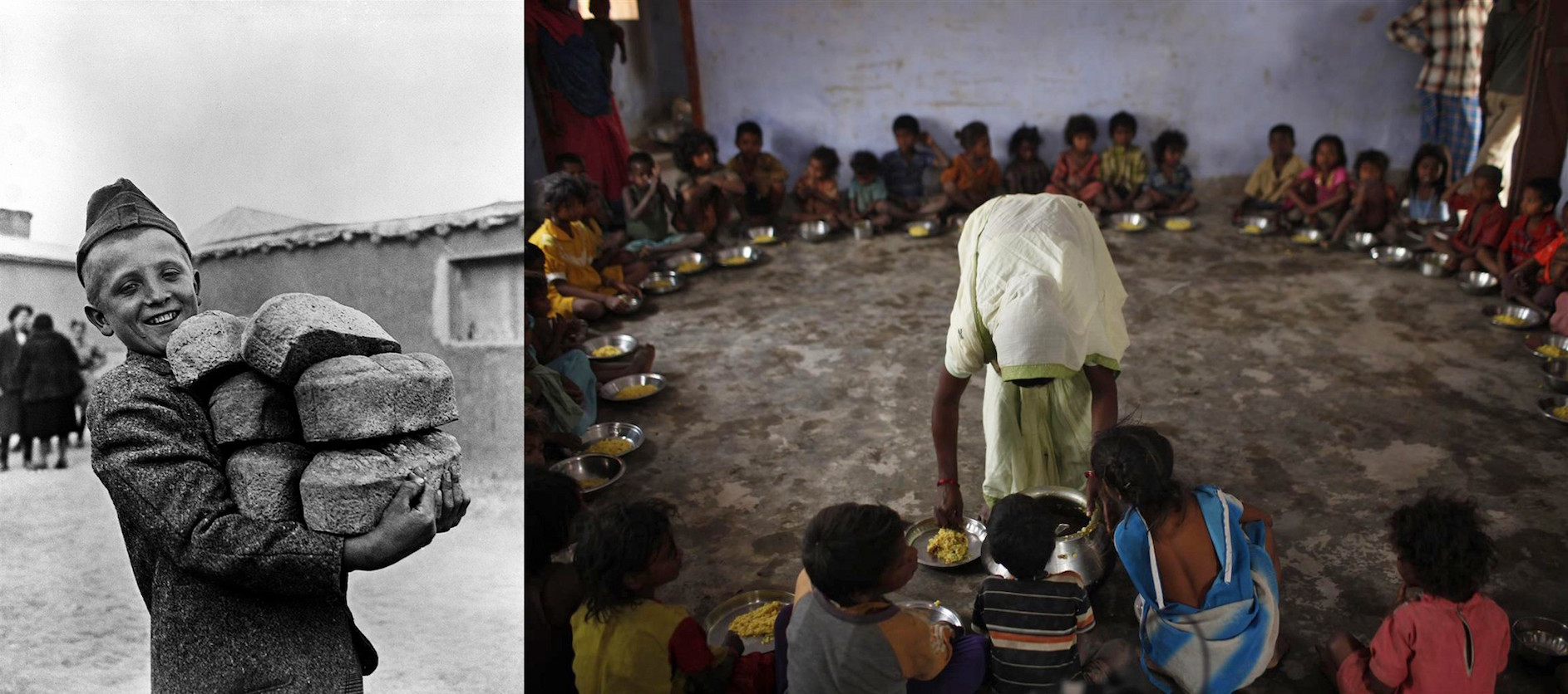 (Left) In 1946 in Poland, a smiling boy carries six loaves of bread. In 2009 in India, malnourished children receive a meal of rice and dal in Sullineabad Village where basic health education, nutrition services are provided at the village level for child