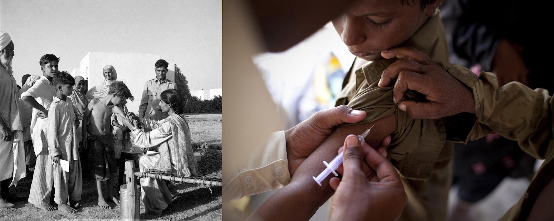 (Left) Circa 1949 in India, a health worker vaccinates a boy against tuberculosis in the town of Faridabad, near Delhi. (Right) In 2010, a health worker vaccinates a boy in a camp for people displaced by flooding, in Sindh Province in Pakistan.
