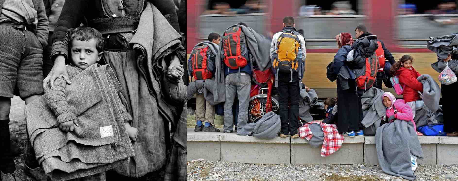 (Left) Circa 1950, in the north-western town of Castoria, Greece, a boy holds a blanket, clutching the skirt of a woman. (Right) In 2015 in the Former Yugoslav Republic of Macedonia, refugees stand on the train platform outside a transit centre, on their