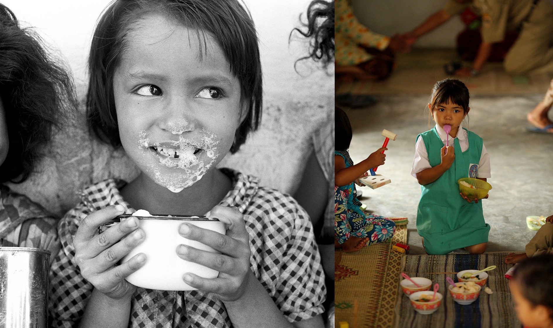 (Left) Circa 1950, approximate locale Guatemala, five-year-old Norma Salandia's mouth and nose are covered with foamy milk, after drinking from her cup. (Left) In 2015, a girl eats food prepared by 'cadres' who play an important role in Indonesia's health
