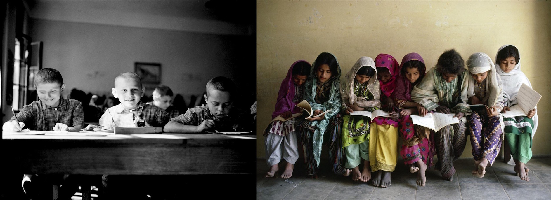 (Left) In 1946 in Yugoslavia, three boys share a desk in a school in the city of Karlovac in the north-western region of Croatia. (Right) In 1983 in Pakistan, girls share books and a bench after class in their school in the city of Karachi.