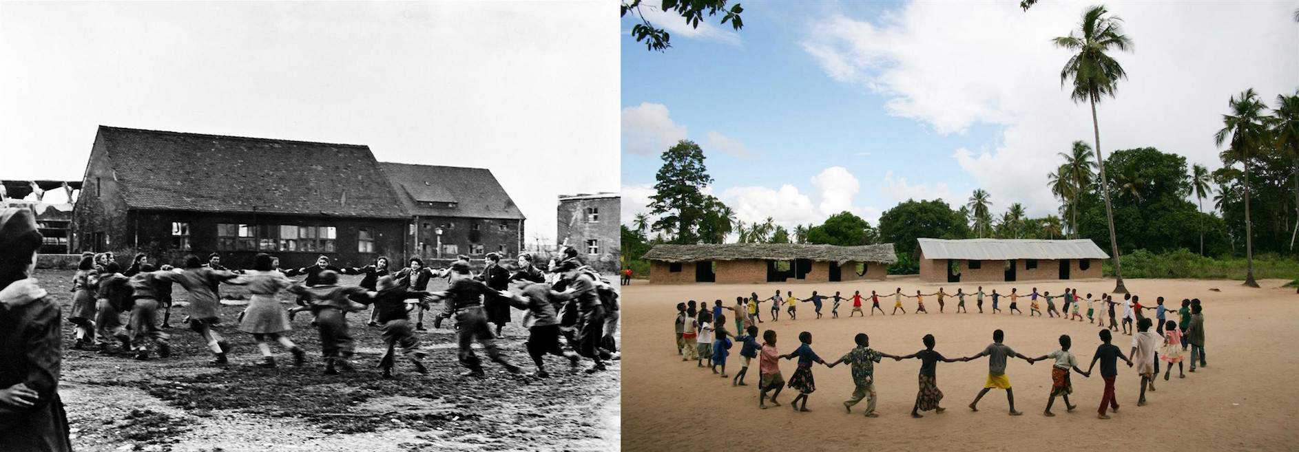 (Left) In 1946 in Germany, children — most of who lost parents in concentration camps — perform a folk dance at an army telecommunications camp. (Right) In 2006, children play during recess at a school in one of the poorest districts in Zambezia Province