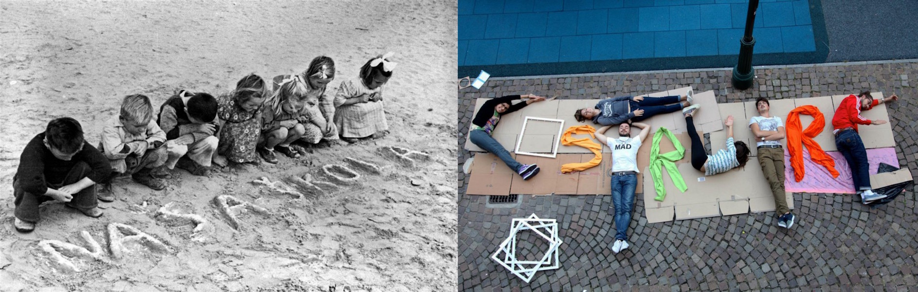 (Left) Circa 1946 in Egypt, children look at the Serbo-Croatian words 'nasa skola' (our school) written in the sand in a refugee camp. (Right) In 2014 in Italy, adolescents spell the word 'costruire' (to build), chosen to reflect the need to build a new g
