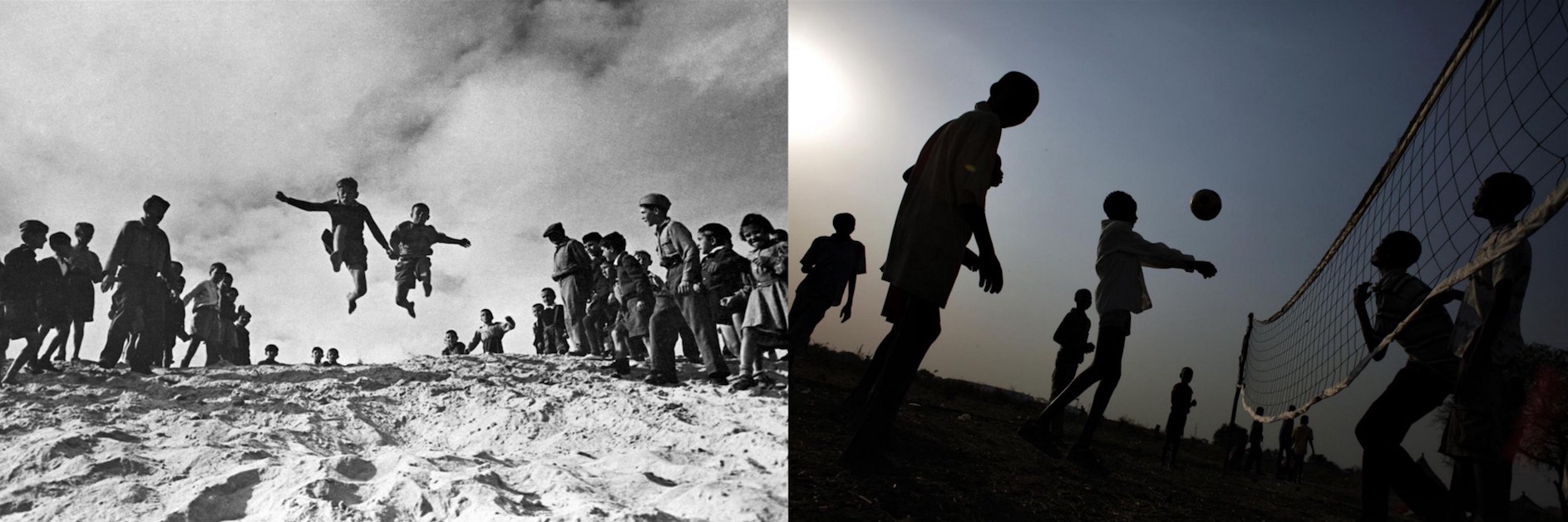(Left) In 1947 in Egypt, boys are cheered on during the long-jump event of a sports competition at a refugee camp. Eighteen months before, these children were at war. (Right) In 2012, boys displaced by inter-ethnic violence play volleyball, outside a chil