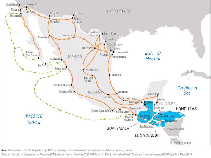 Honduras Mexico Map.Central American Child Migrants Unicef Usa