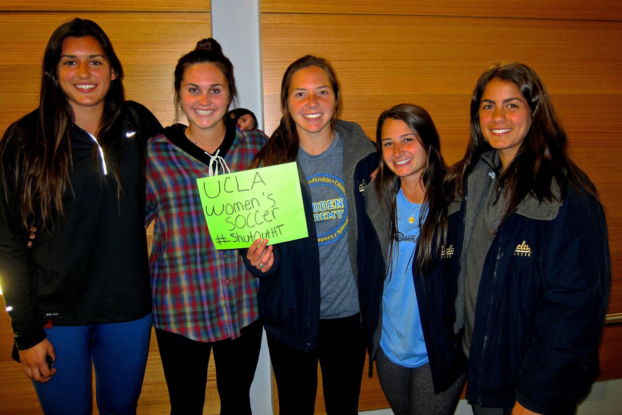 UCLA Women's Soccer Team participates in the #ShutOutHT photo campaign. Photo credit: Esha Jalota