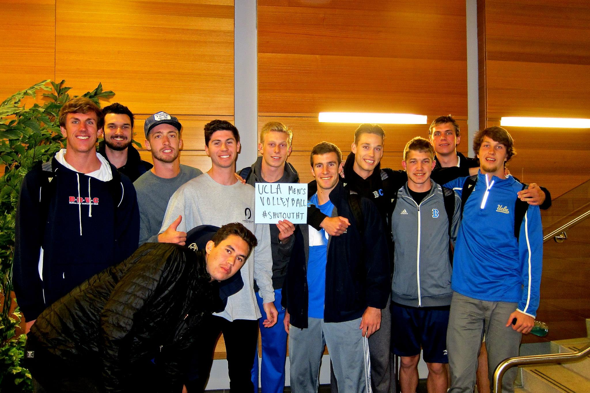 UCLA Men's Volleyball participates in the #ShutOutHT photo campaign. Photo credit: Esha Jalota