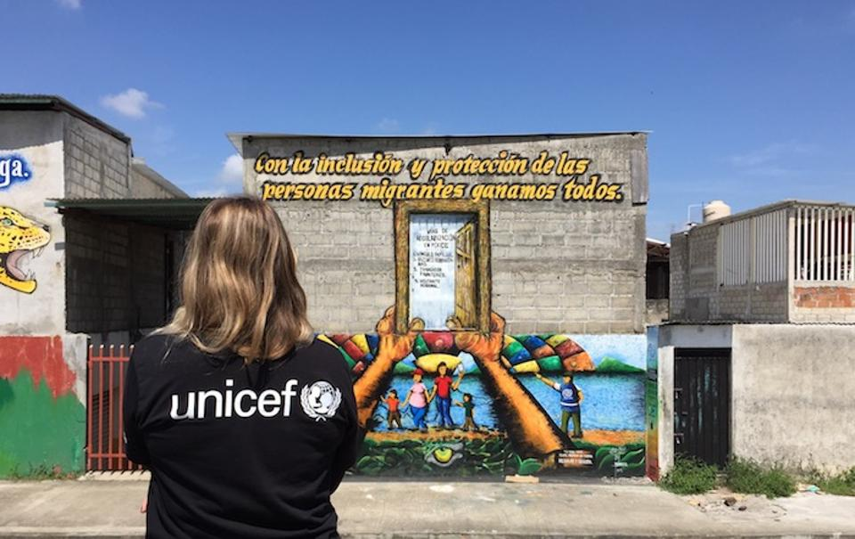 UNICEF, UNHCR and other humanitarian agencies have many ways of telling migrants their rights upon arrival — including this mural near the Mexican-Guatemalan border in Chiapas.