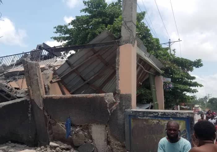 Heavy damage was reported following a major earthquake in Haiti early on August 14, 2021.