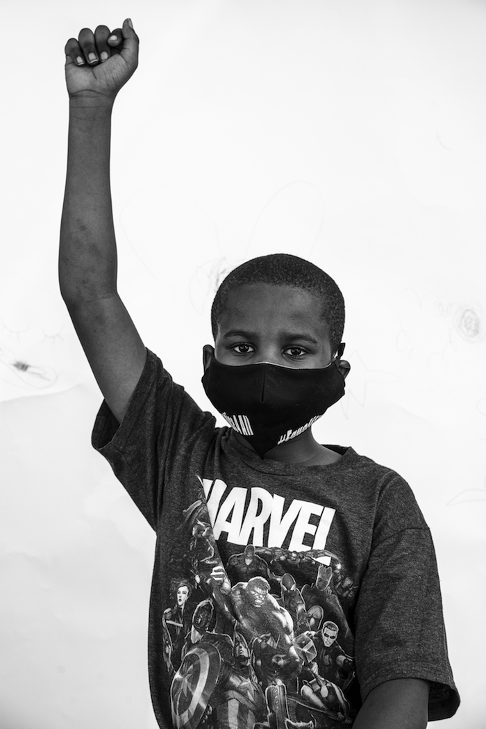 Xavier, 9, at the Stroll for Freedom in Bedford-Stuyvesant, Brooklyn in June 2020.