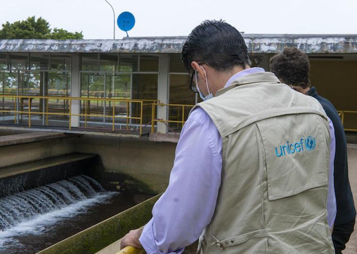 UNICEF workers inspect the water treatment plant in Táchira, Venezuela in June 2020.