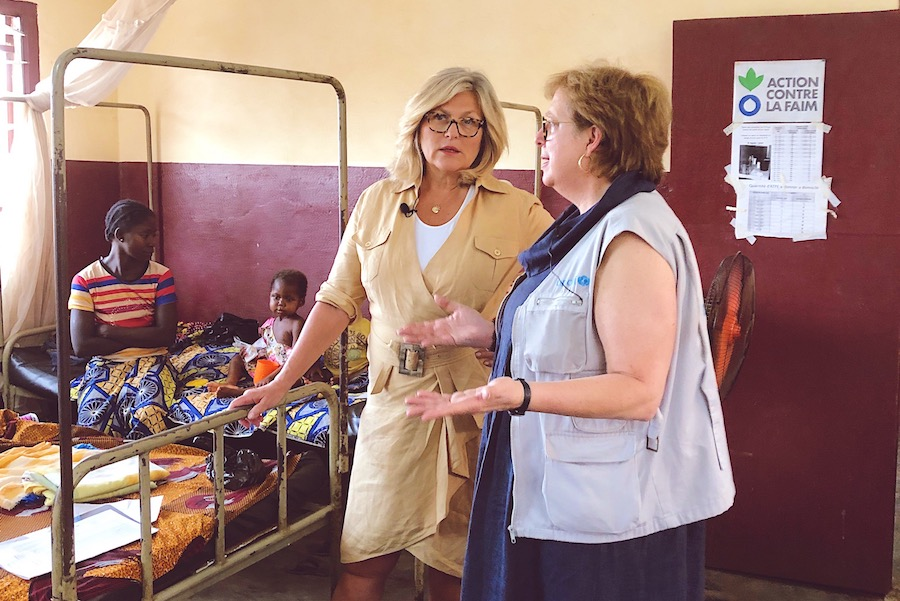NBC correspondent Cynthia McFadden (left) and UNICEF USA President and CEO Caryl M Stern visit a pediatric health center in Central African Republic.