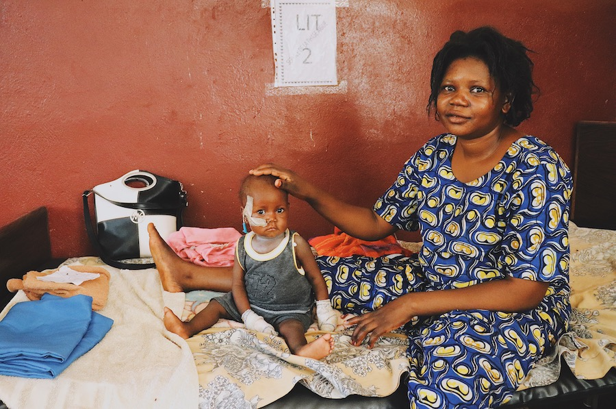 Nine-month-old Christelle is being treated for severe acute malnutrition at a UNICEF-supported health center in the Central African Republic.