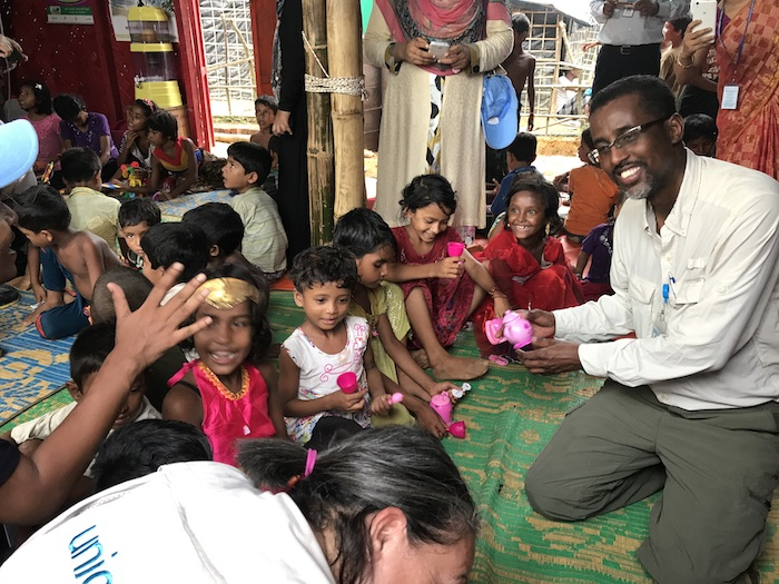 UNICEF Senior Emergency Coordinator AK Musse, far right, recently returned from an emergency mission to Bangladesh, where he was supporting UNICEF's response to the Rohingya refugee crisis.