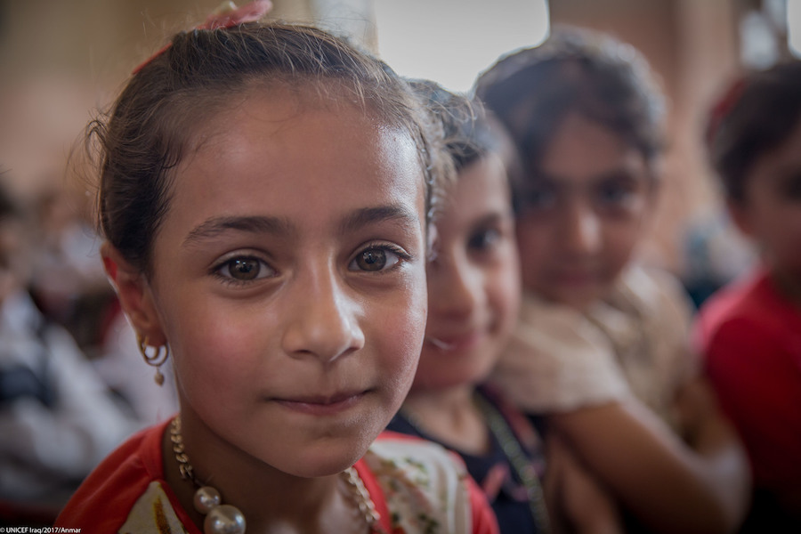 Aysha attends Saint Abd al-Ahad primary school supported by UNICEF in Mosul Jadida neighborhood in west Mosul.