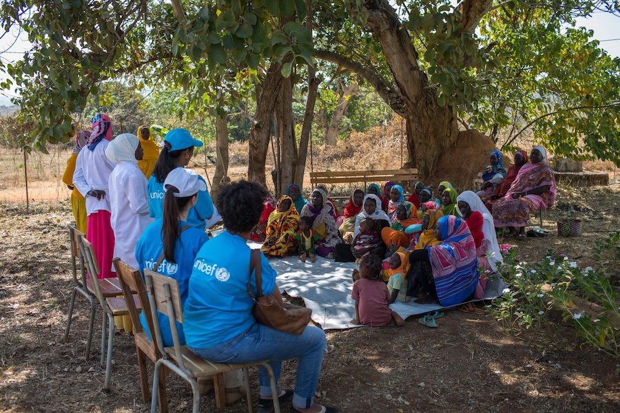 A support group for mothers and newborns meets at a UNICEF-supported health post in Ethiopia's Benishangul-Gumuz region.