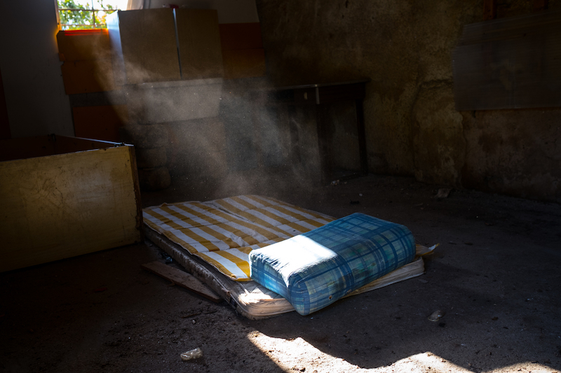 An abandoned farmhouse with a mattress used by Nigerian women forced into prostitution in Palermo, Sicily.