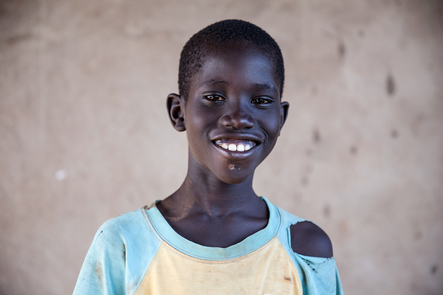Angamita, 9, arrived in Uganda's Bidi Bidi refugee camp with his brother and big sister.
