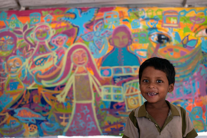 unicef, rohingya, bangladesh, art therapy, child refugees, artolution, murals