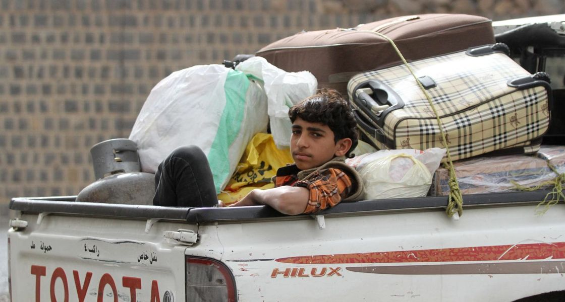 Children in conflict, Yemen, 2015: a boy fleeing the capital, Sana'a.
