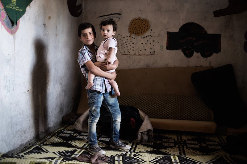 Syrian child refugee in Lebanon who's going to school