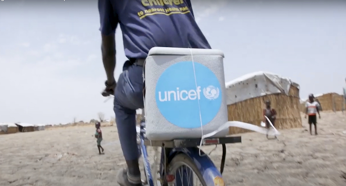 Vaccine delivery by bicycle in South Sudan.