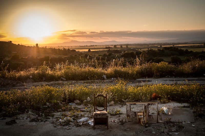 A chair used by prostitutes, predominantly from Nigeria, next to a state road south of Catania, Sicily.