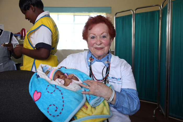 Charlet Long Little, member of the San Antonio Army Residence Golden K Kiwanis club visited Kenya in 2014 to see how UNICEF's immunization efforts were working to eliminate maternal neonatal tetanus (MNT).