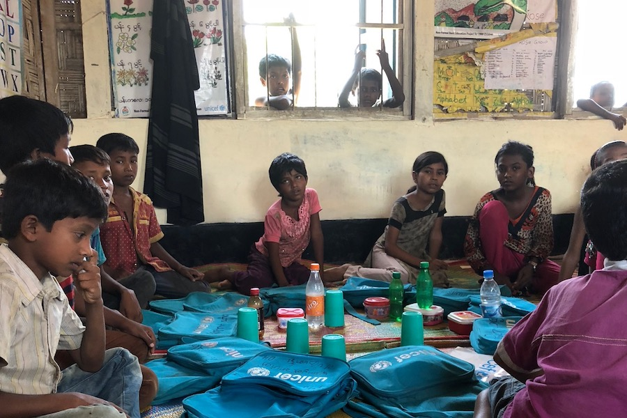 unicef, bangladesh, rohingya refugees, refugee camp, education, educating girls
