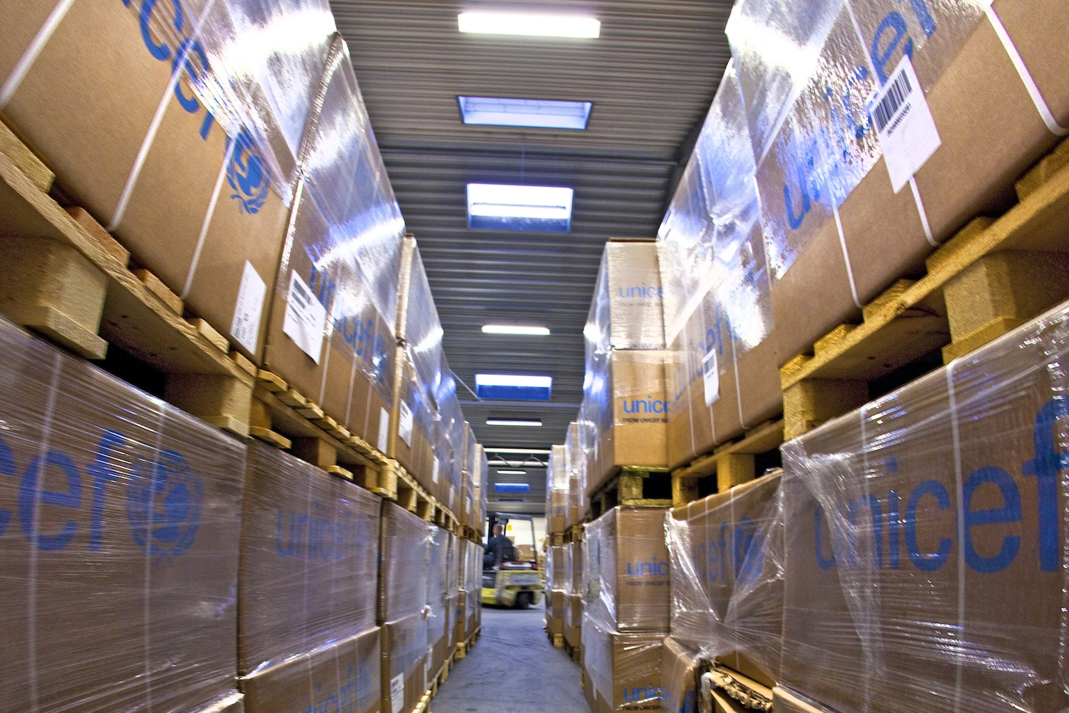 UNICEF supplies being loaded in Denmark.