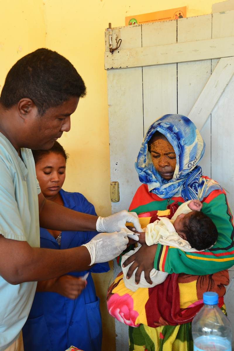 A child is vaccinated for tetanus during a UNICEF-supported vaccination drive in Madagascar.