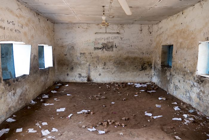 Years of war have destroyed the infrastructure of education in South Sudan. This primary school has been left to disappear into the bush. 1 out of every 3 schools in the country are either damaged, destroyed, occupied or closed.