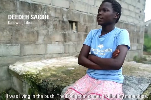 Deedeh Sackie, a Liberian Ebola orphan, explains her story as part of a video about recovering from the Ebola epidemic