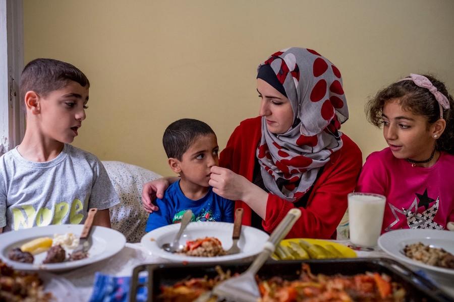 Amr, Karam, Amira and Jannat Raslan, Syrian refugees now living in Berlin.