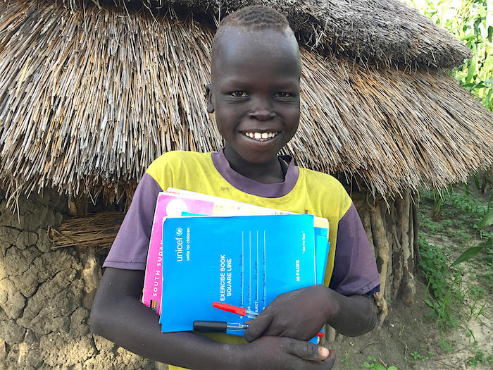 Sebit, 13, goes to the UNICEF-supported Kaikuiny primary school in Jonglei state, South Sudan.