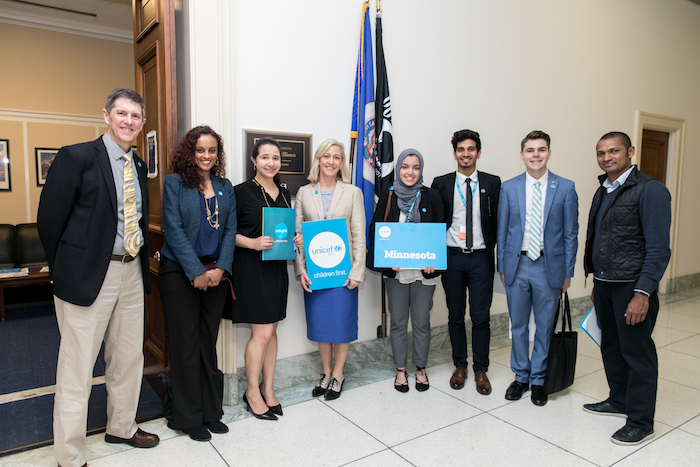 UNICEF USA Midwest board member Tamrah Schaller O'Neil (fourth from left) and UNICEF USA staff and supporters met with Rep. Keith Ellison's office in 2017.