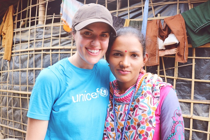 UNICEF USA's Erica Vogel, left, with Bangladeshi social worker Baby Barua at a Rohingya refugee settlement in Cox's Bazar, Bangladesh.