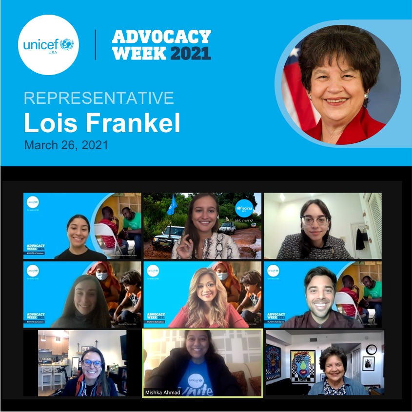 In March 2021, UNICEF USA Florida advocates virtually meet with Rep. Lois Frankel (D-FL).