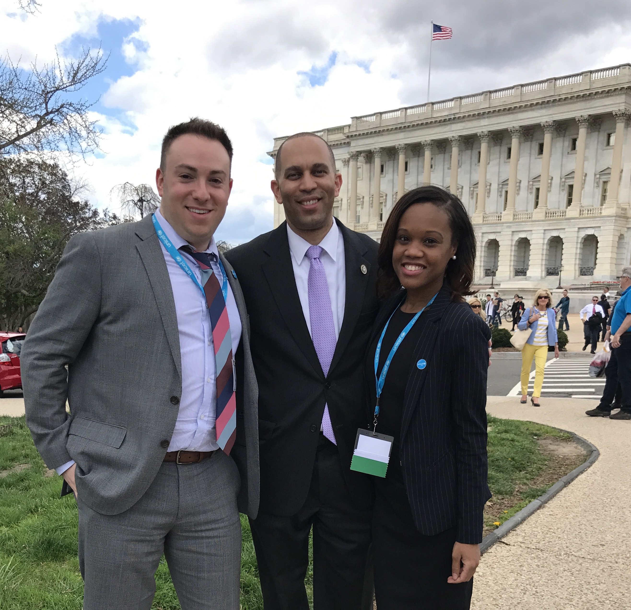 UNICEF USA advocates Michael Braun (left) and Fabienne Pierre (right) meet Rep. Hakeem Jeffries (D-NY).