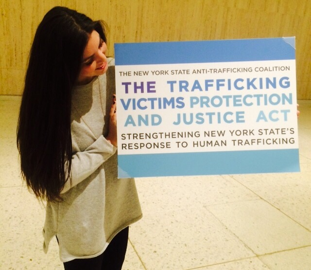 End Trafficking team member Malea Otranto at the NYS Capital Building