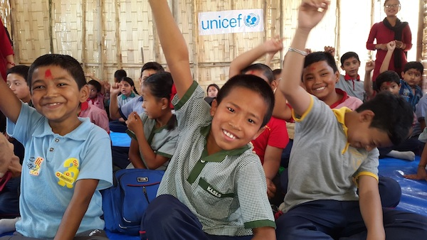 Boys at the Kuleshwor School in Kathmandu are happy to return to school for the first time since the earthquakes.