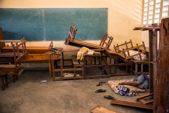 This classroom in Les Cayes, Haiti was used as a shelter after Hurricane Matthew.