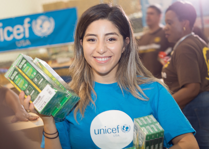 Teacher Jackie Garcia helped fill School-in-a-Box kits as part of UNICEF USA's Hurricane Harvey response.