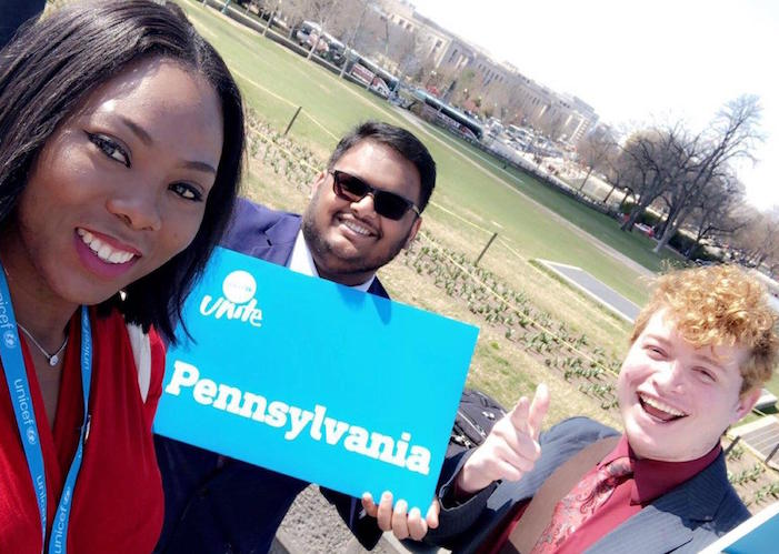 From left: In 2019, UNICEF UNITERs Aminata Bamba, Ronald Joseph and Eric Rosario traveled from Philadelphia to Capitol Hill for UNICEF USA's annual Advocacy Day.