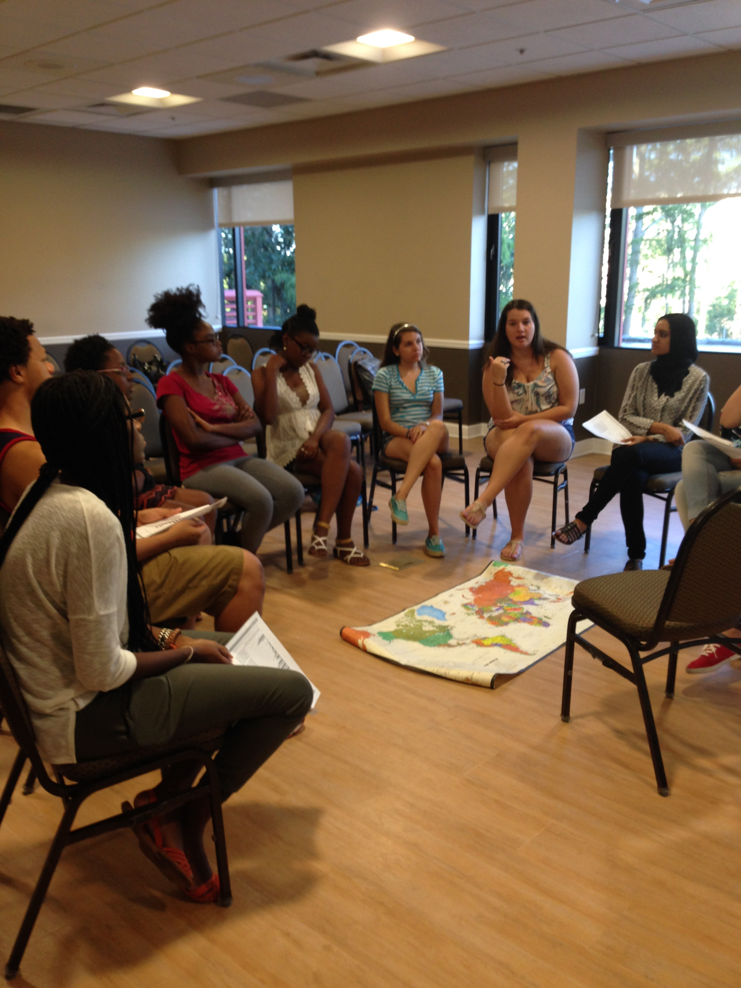 Students at UCF have an interactive discussion about human trafficking. Photo credit: Ligia Forbes