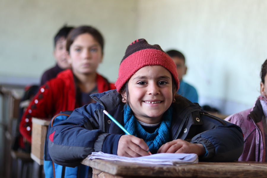 Sana, 6, attends a UNICEF-supported self-learning session in Qaramel village in northern rural Aleppo, Syria.