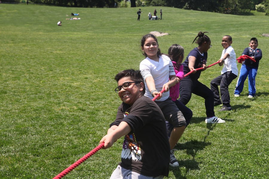 Lexington Academy students in the tug-of-war in Central Park's East Meadow of Field Day.
