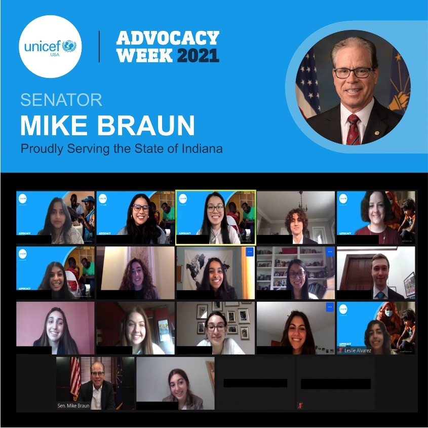 In March 2021, UNICEF USA Indiana advocates virtually meet with Sen. Mike Braun (R-IN).
