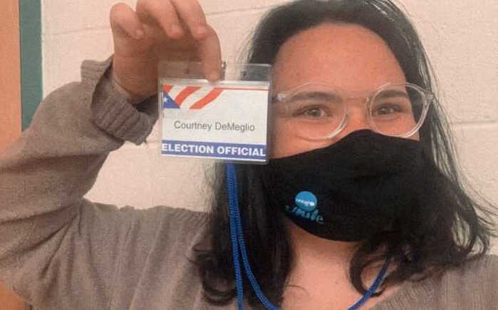 UNICEF USA National Council Member Courtney volunteers as a poll worker in Newtown, CT on November 3, 2020.